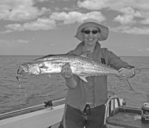Diana Campbell with a spottie mackerel caught trolling out from Wathumba Creek.